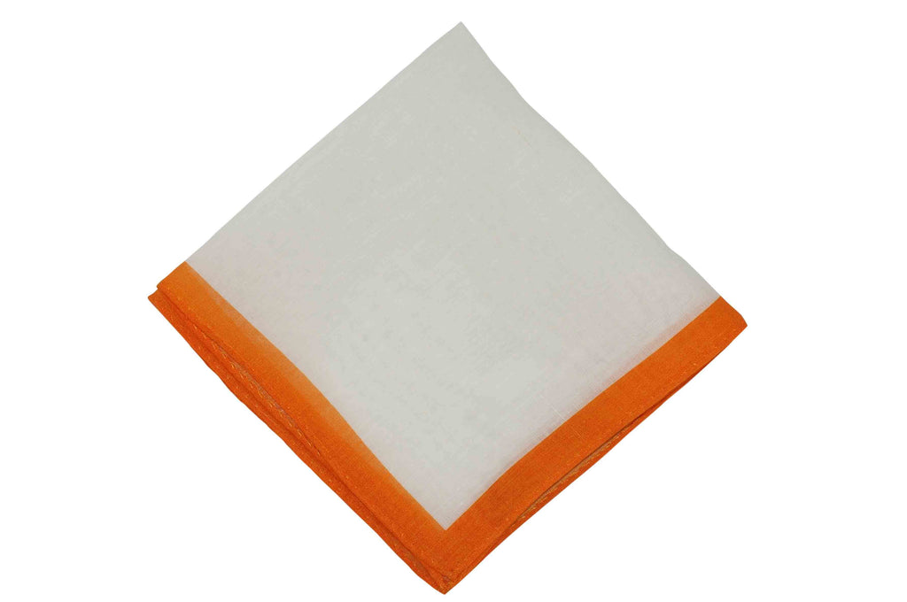 White Orange Border Linen Pocket Square