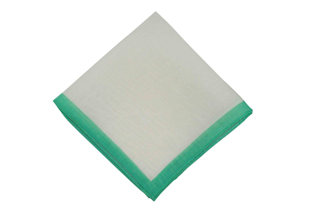 White Peppermint Border Linen Pocket Square