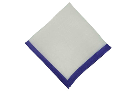 White Purple Border Linen Pocket Square