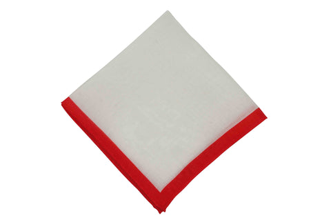 White Red Border Linen Pocket Square