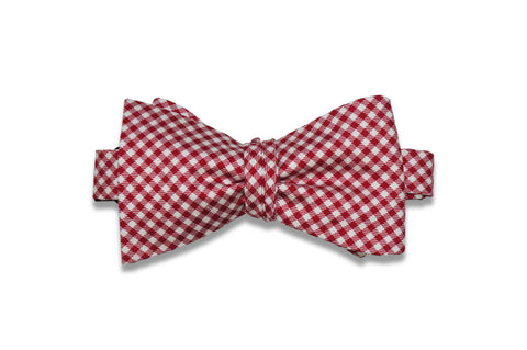 White Red Gingham Silk Bow Tie (self-tie)