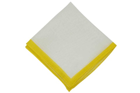 White Yellow Border Linen Pocket Square