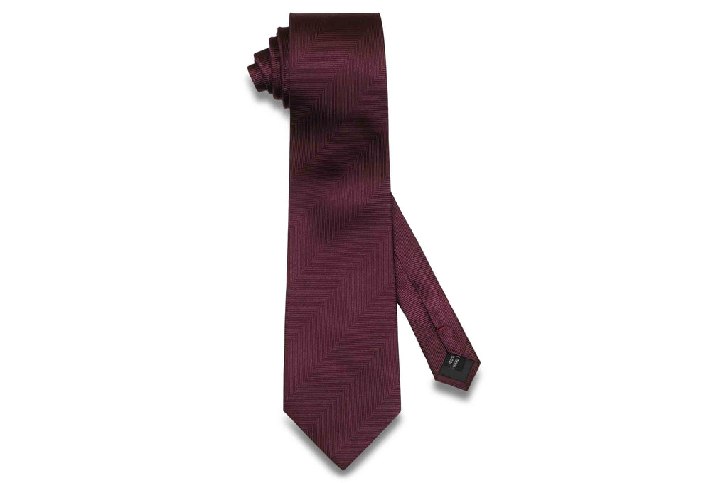 Wine Purple Herringbone Silk Tie
