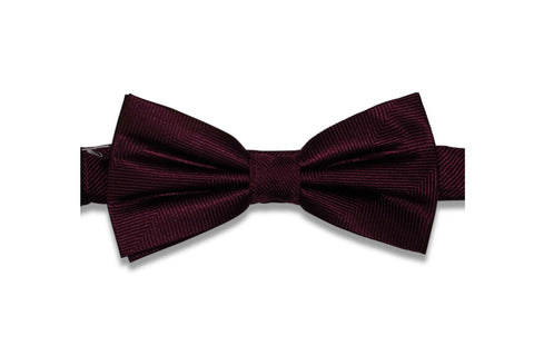 Wine Purple Herringbone Silk Bow Tie (Pre-Tied)