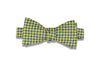 Yellow Blue Checks Silk Bow Tie (self-tie)