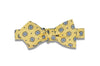 Yellow Blue Flowers Silk Bow Tie (self-tie)