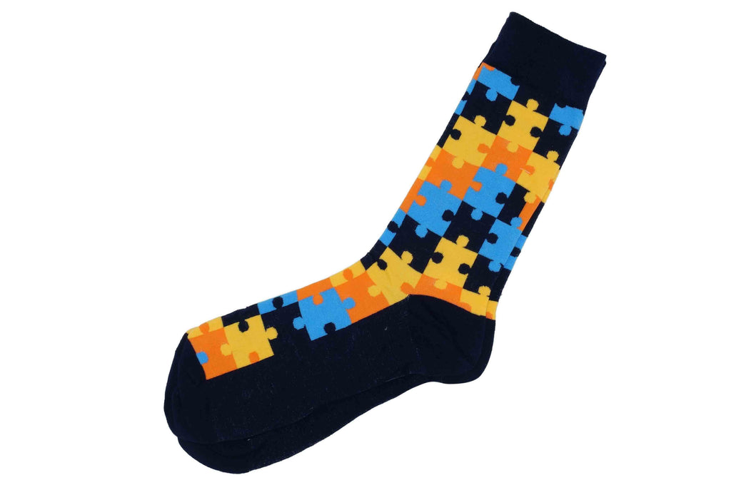 Yellow Blue Puzzle Socks