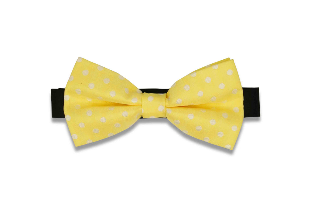 Yellow Dotted Bow Tie (PRE-TIED)