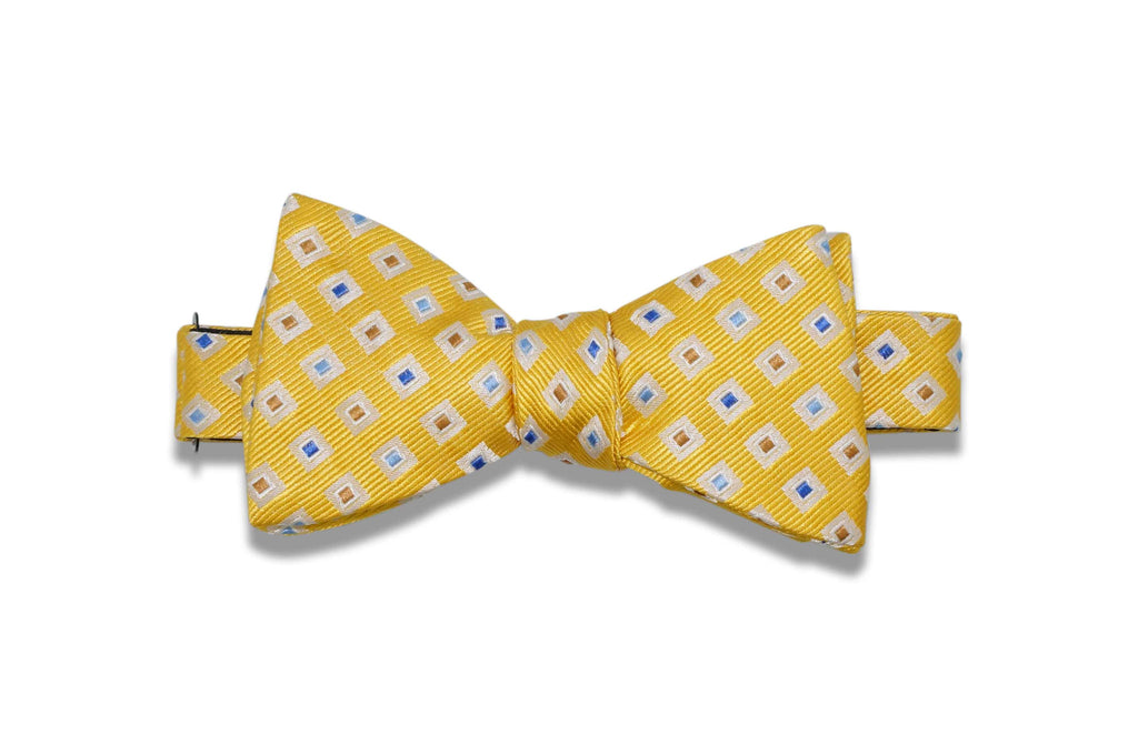 Yellow Double Diamonds Silk Bow Tie (self-tie)