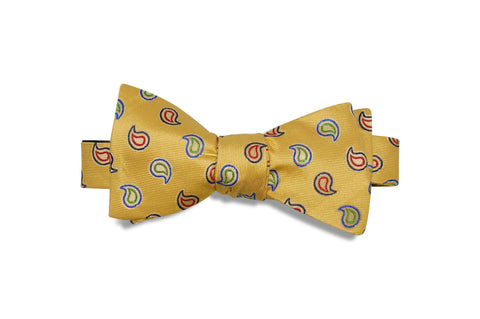 Yellow Drops Paisley Silk Bow Tie (self-tie)