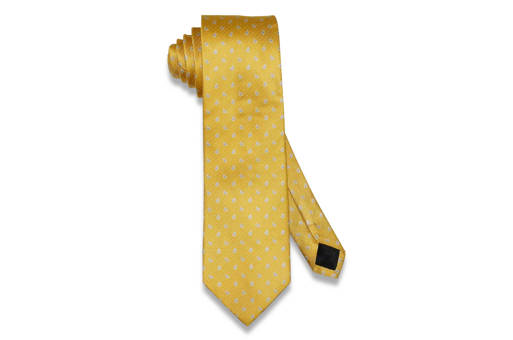 Yellow Mini Paisley Silk Tie