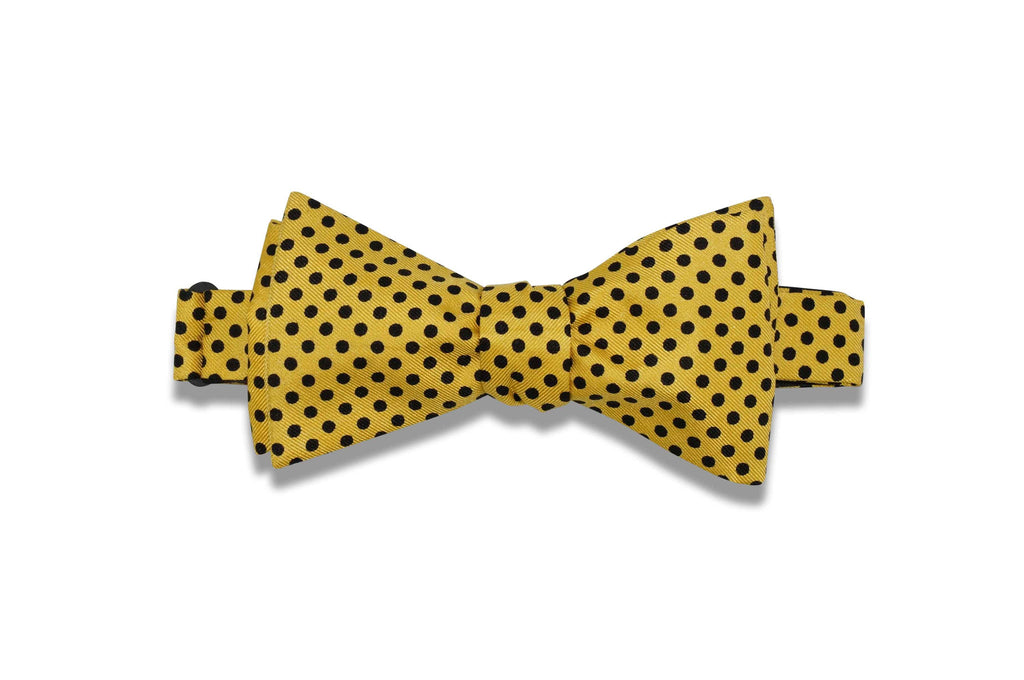 Yellow Polka Dot Silk Bow Tie (self-tie)