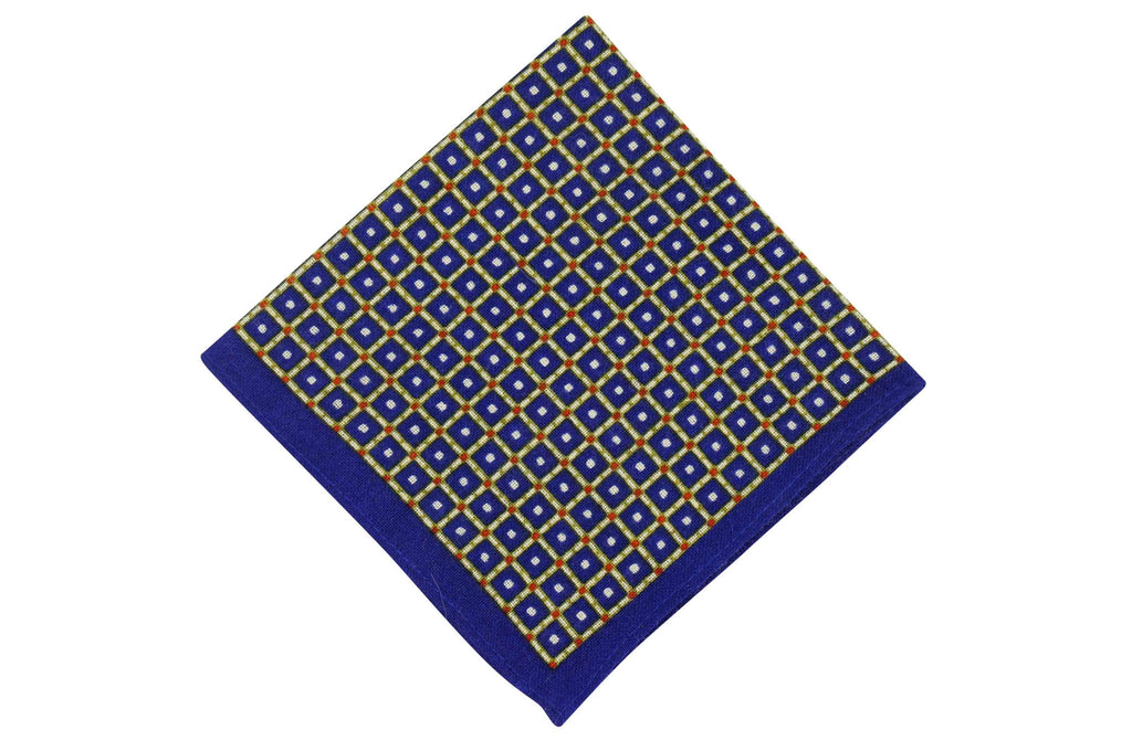 Yellow Squares Wool Pocket Square