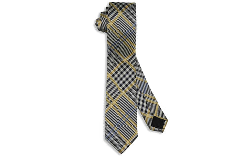Yellowed Black Silk Skinny Tie