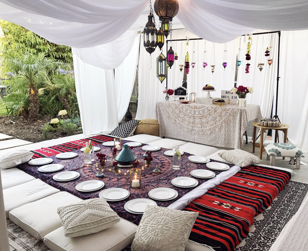 moroccan seating iftar party decoration