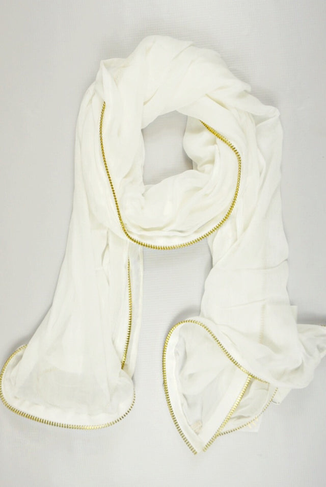 chiffon_white_gold_zipper_edge_scarf