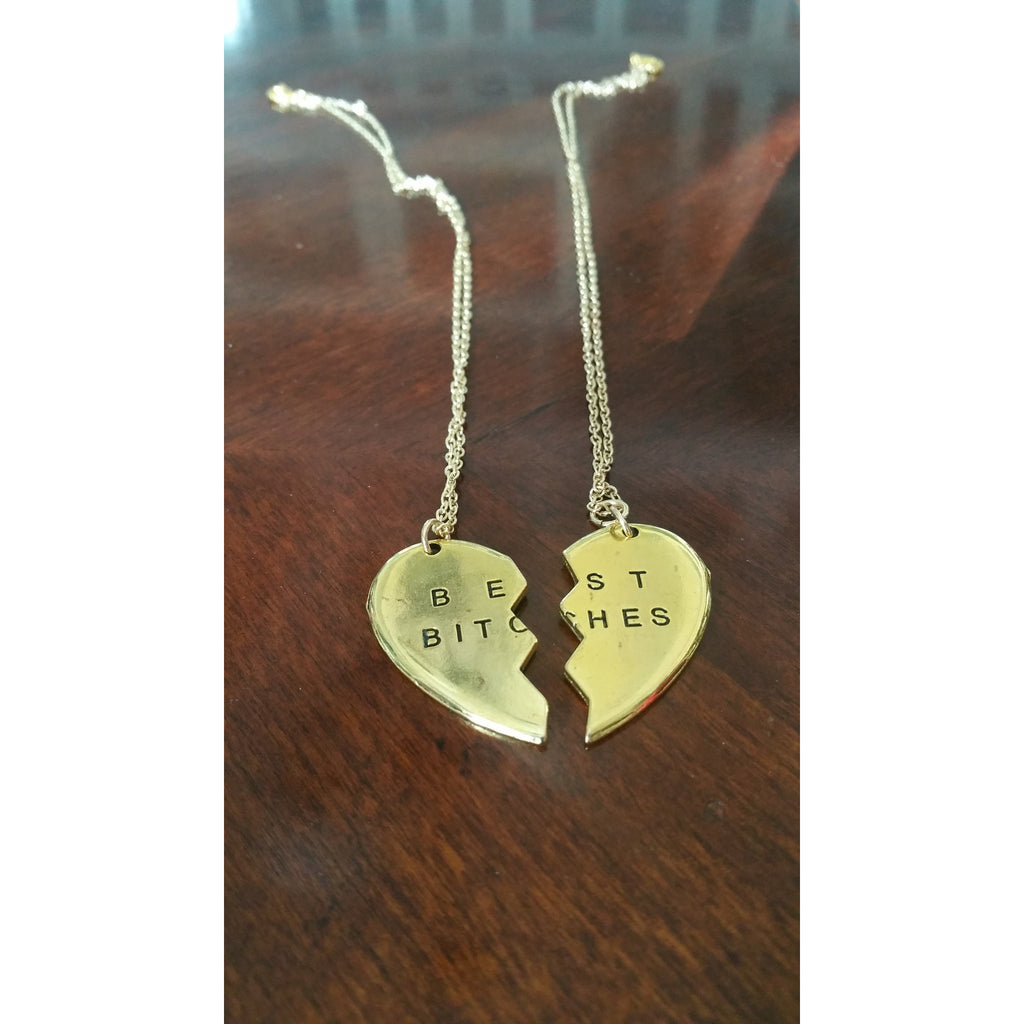 Best Bitches- Best friend charm Necklace 2 pc set - Pretty Princess Style