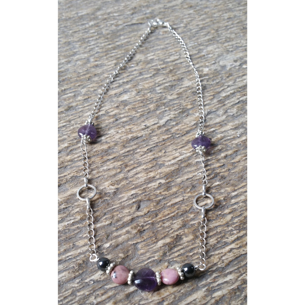 Breaking Bad Habits & Addictions  Positive Prescription Necklace-Amethyst Rhodonite Hematite - Pretty Princess Style