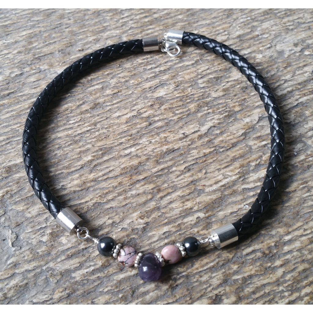 Breaking Bad Habits & Addictions Faux Leather Choker-Amethyst Rhodonite Hematite - Pretty Princess Style