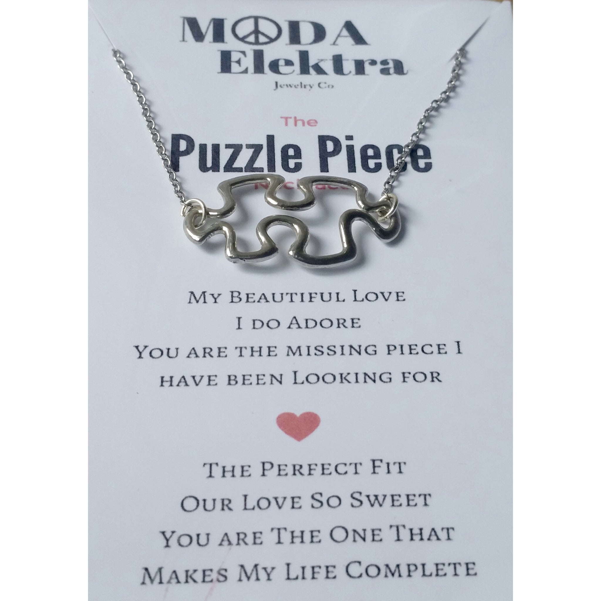 The Puzzle Piece  Charm Necklace - Pretty Princess Style  - 2