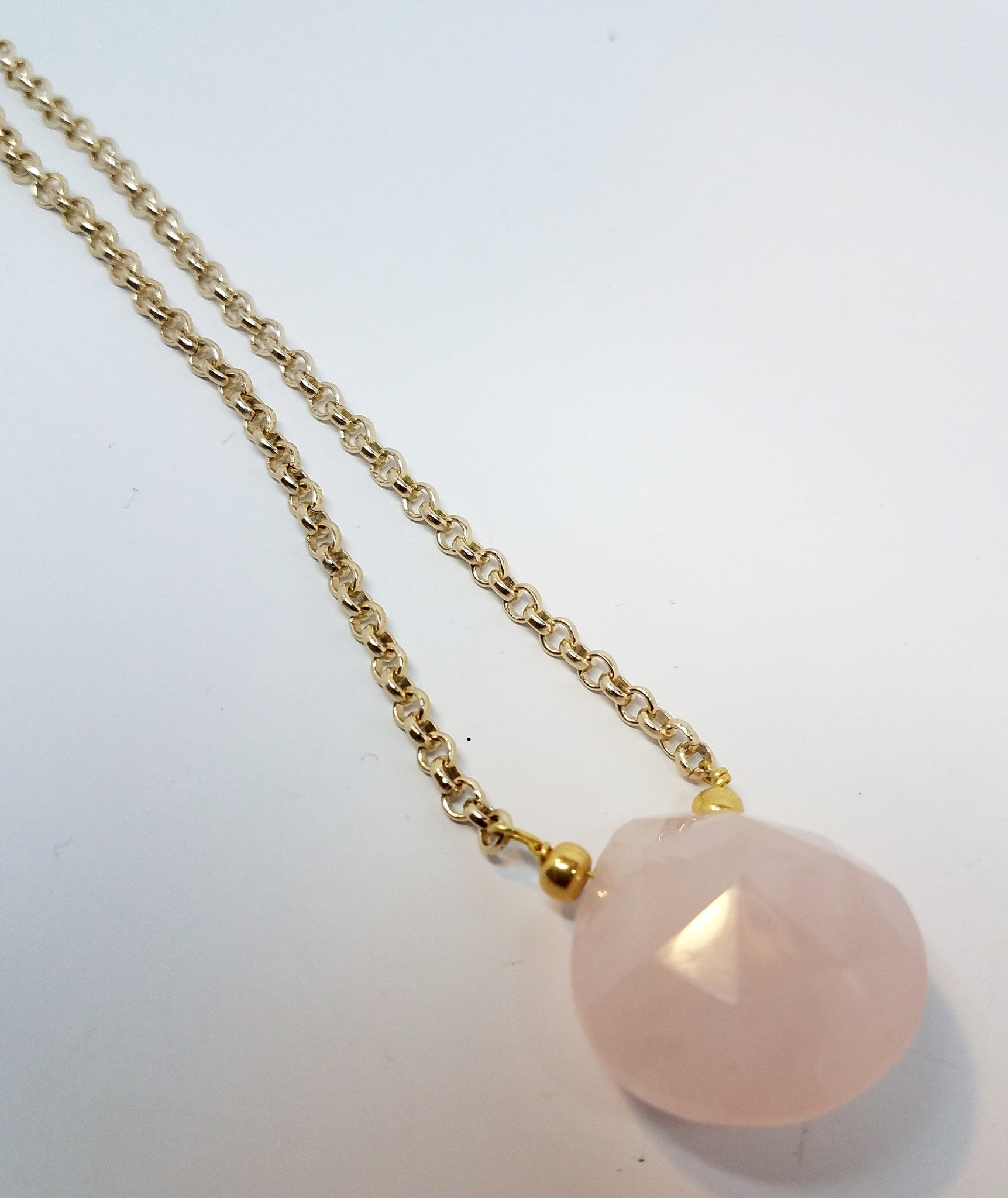Rose Quartz Briolette Necklace - Pretty Princess Style  - 3