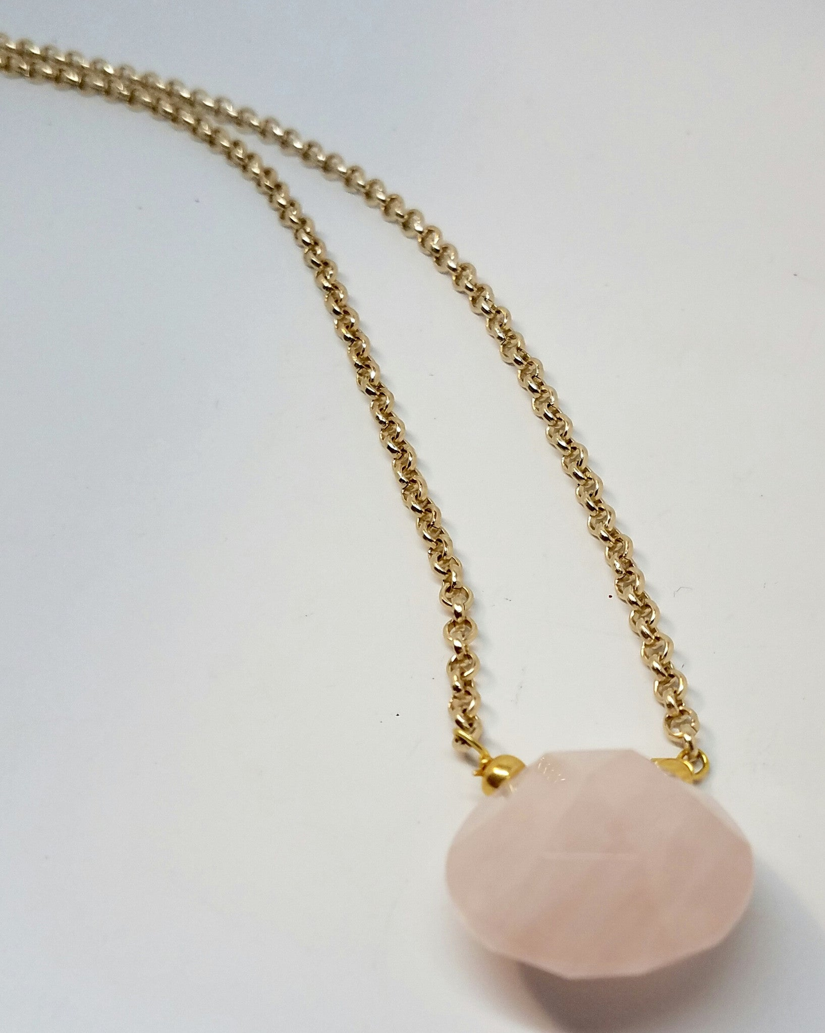 Rose Quartz Briolette Necklace - Pretty Princess Style  - 1