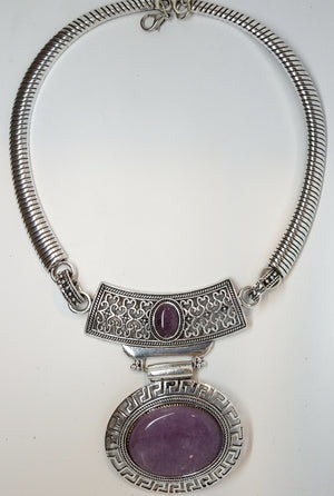 Amethyst Medallion Necklace - Pretty Princess Style