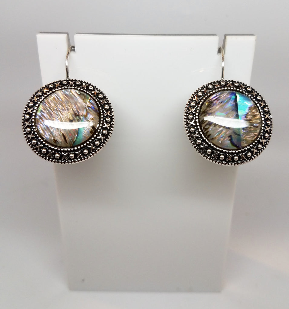 Abalone Medallion Earrings - Pretty Princess Style
