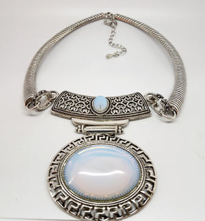 Opalite Medallion Necklace - Pretty Princess Style