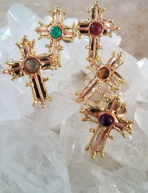 Allura Power Gems-Golden Cross Of Faith Ring - Pretty Princess Style