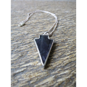 Silver Electroplate Amethyst Arrow Pendant - Pretty Princess Style
