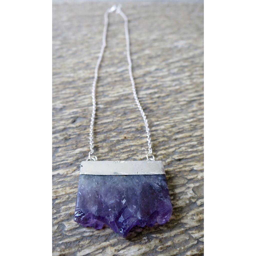 Amethyst Bar Necklace - Pretty Princess Style