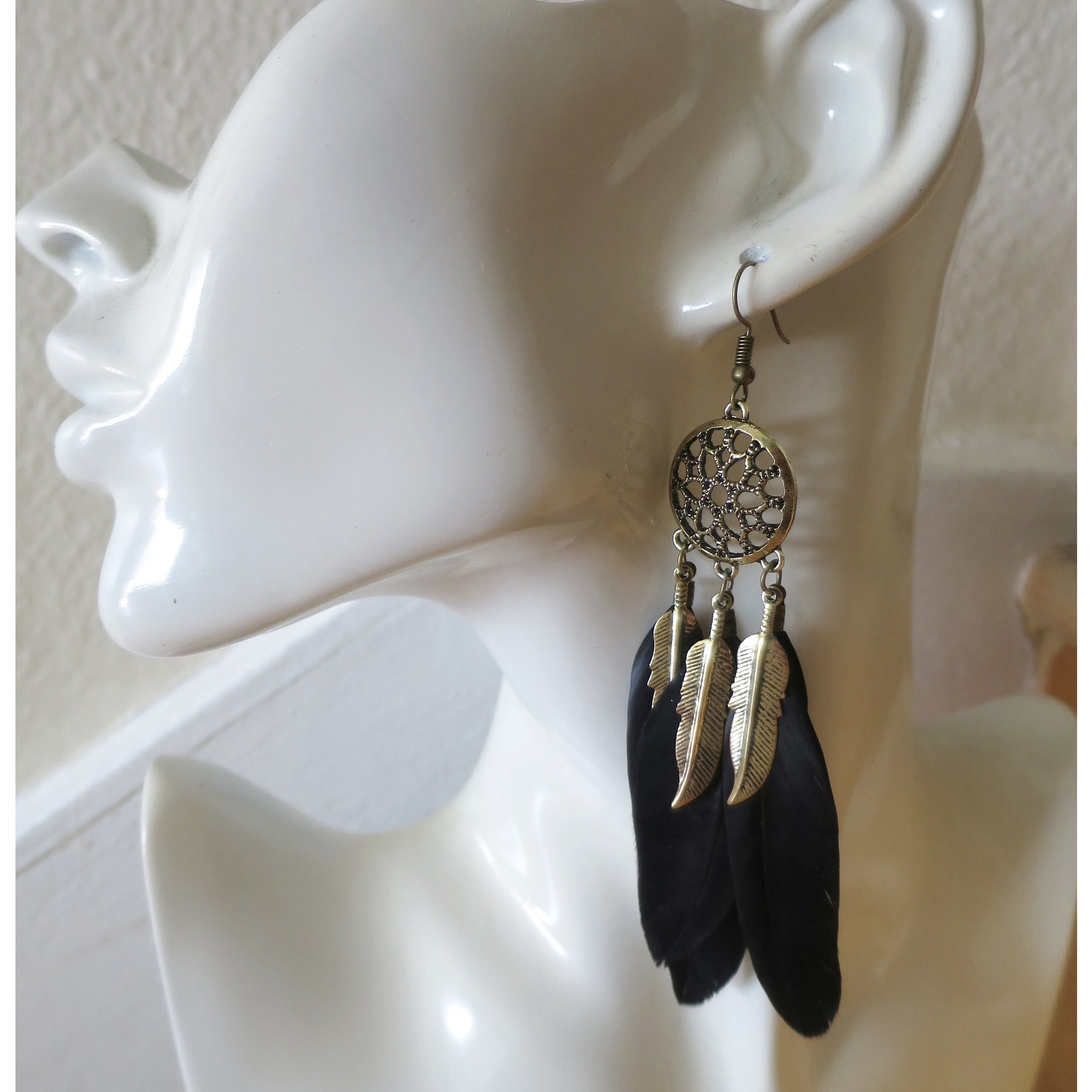 Dream Catcher Bohemian  Mystic  Feather Earrings - Pretty Princess Style