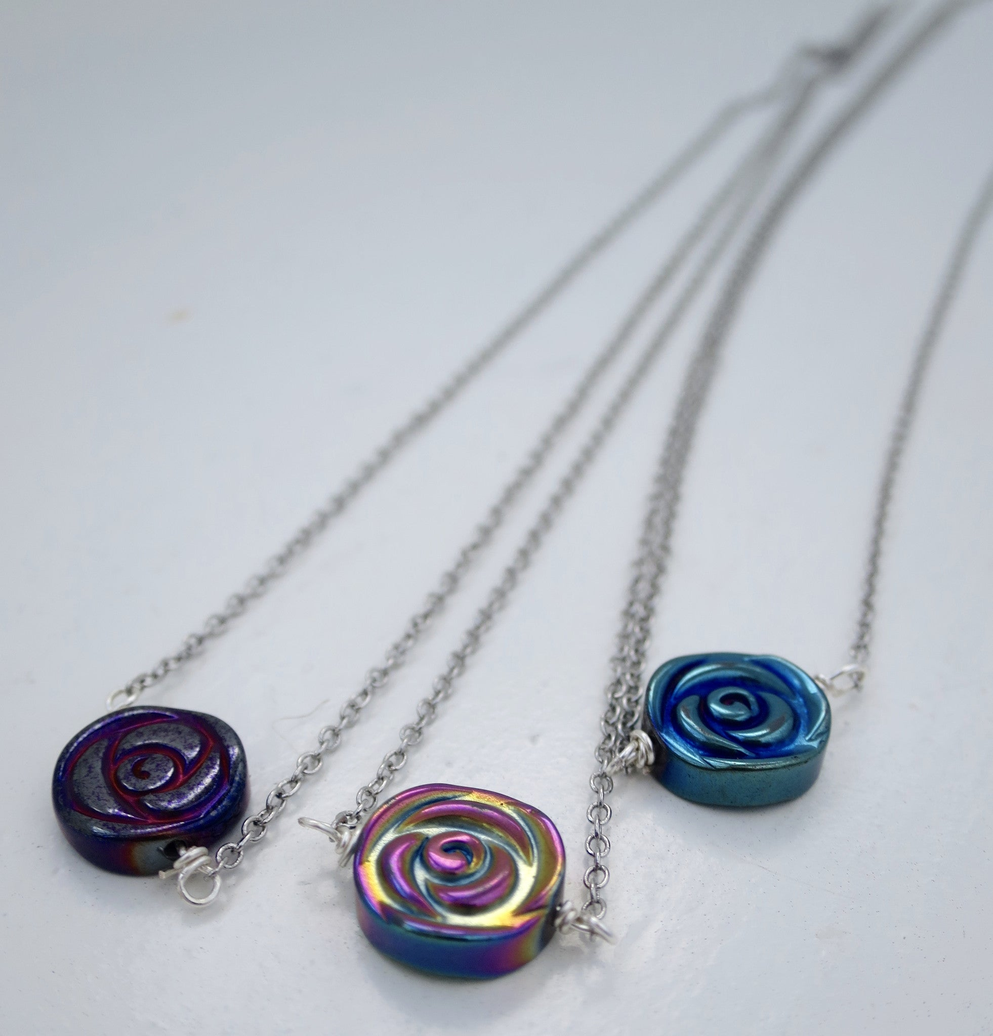 Hematite Rose  Necklace - Pretty Princess Style  - 2