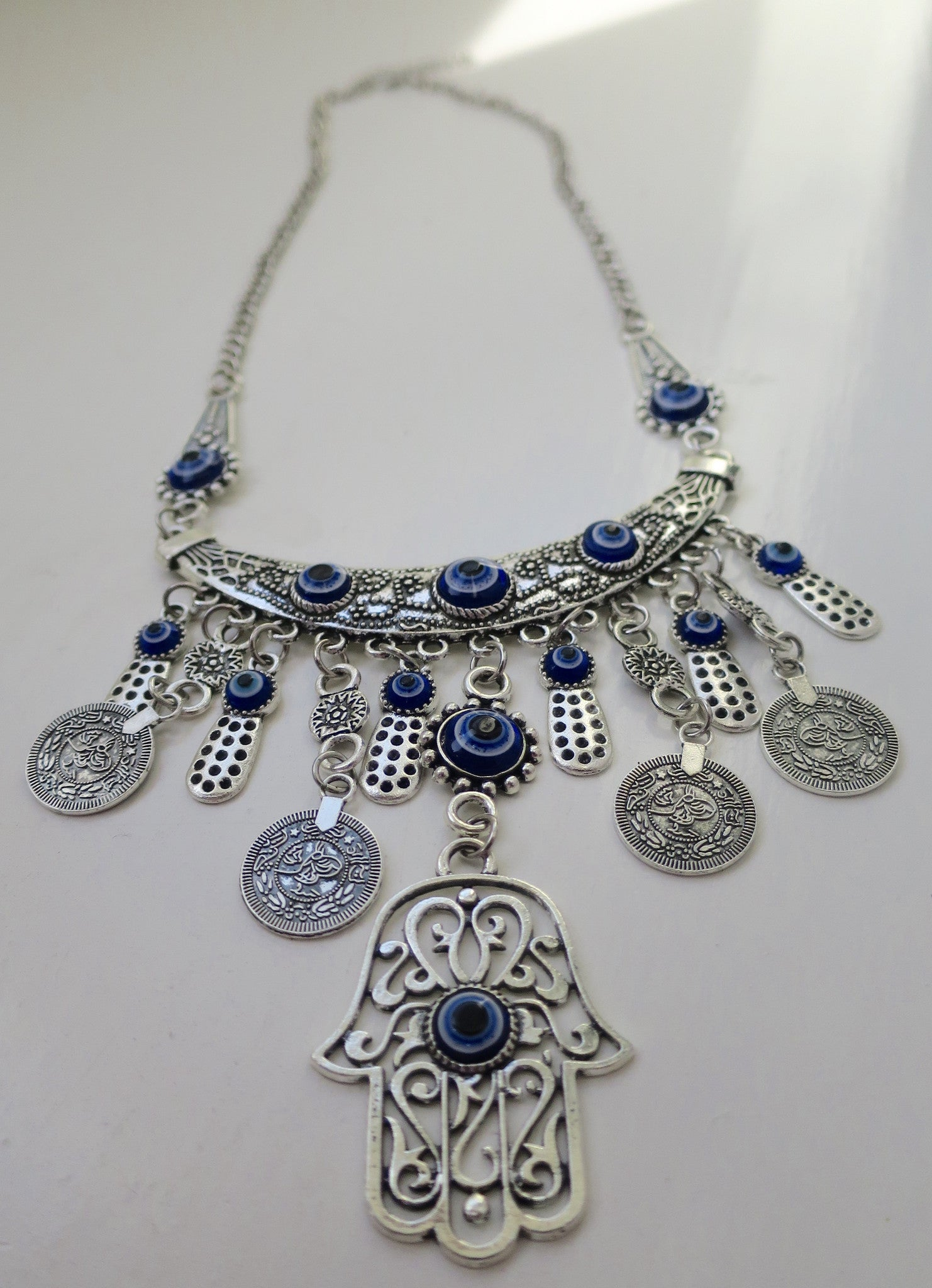 Evil Eye bohemian Coin Necklace - Pretty Princess Style  - 2
