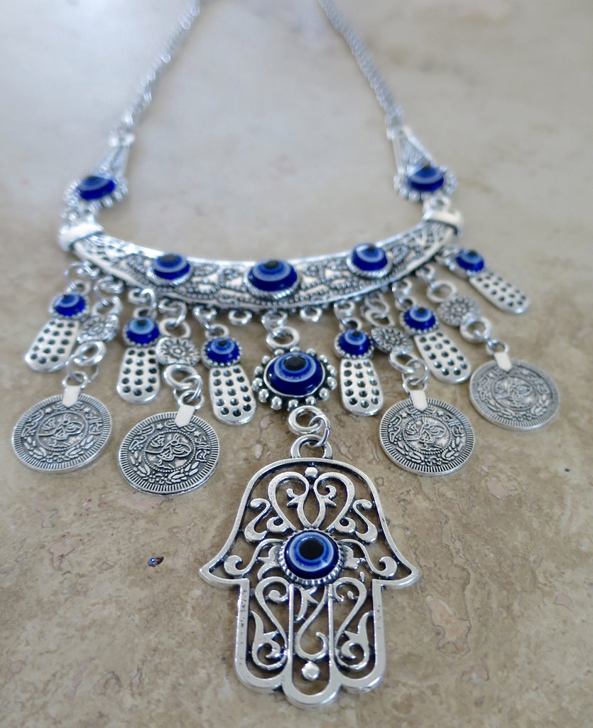 Evil Eye bohemian Coin Necklace - Pretty Princess Style  - 1