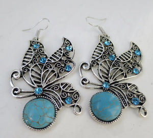 Turquoise Magnesite Butterfly Bliss Dangle Earrings - Pretty Princess Style