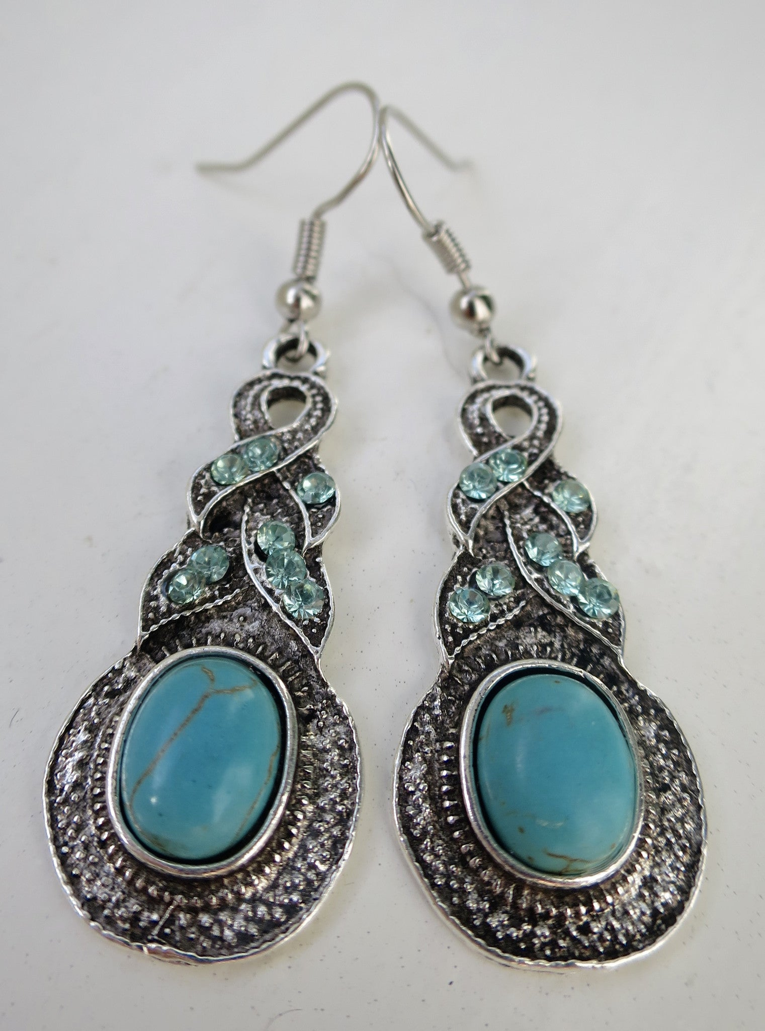 Turquoise Magnesite Sparkle Dangle Earring - Pretty Princess Style  - 1