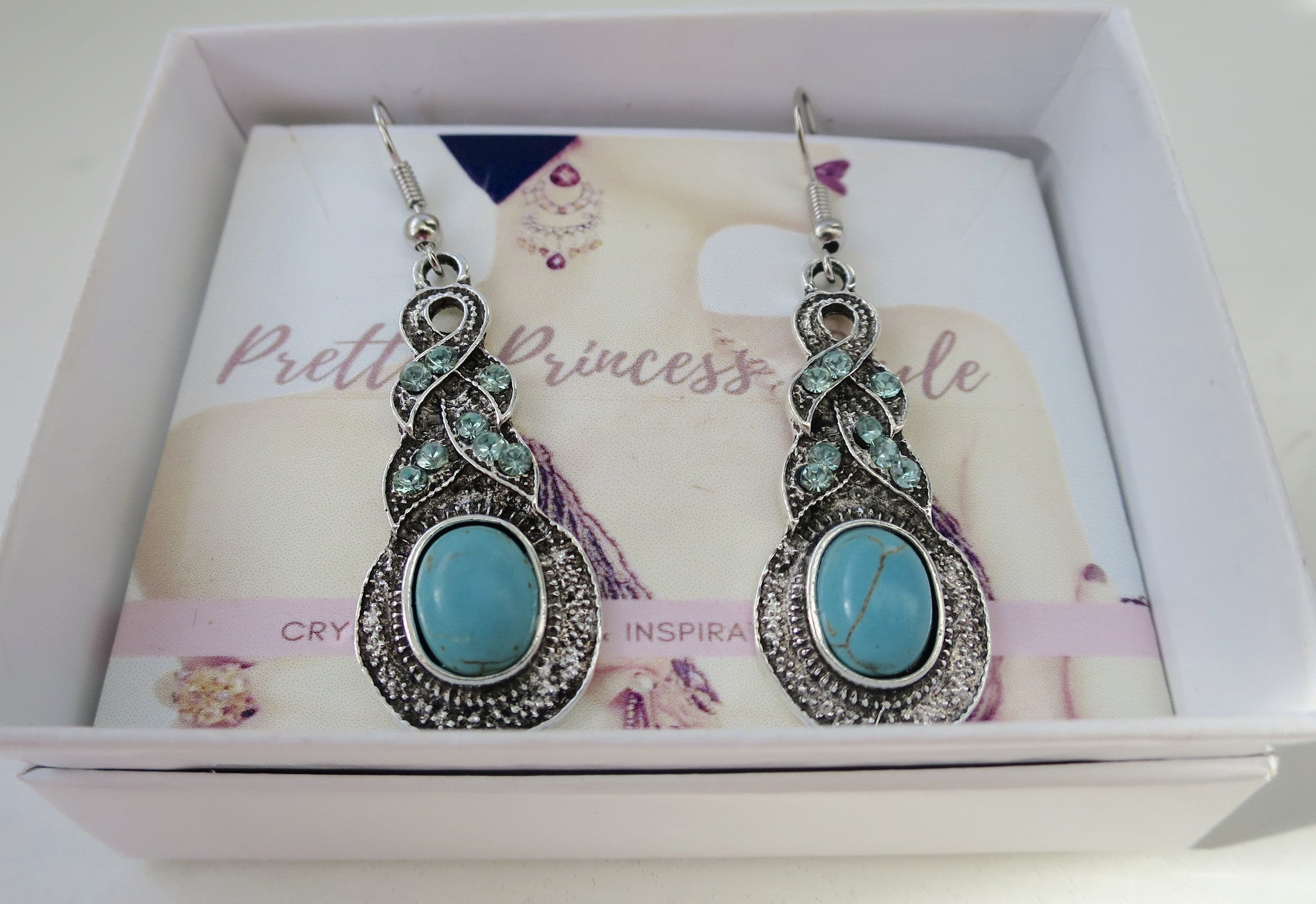 Turquoise Magnesite Sparkle Dangle Earring - Pretty Princess Style  - 2