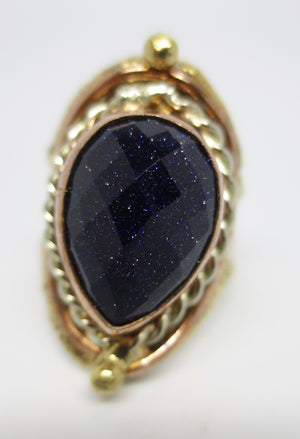 Allura Power Gems-Blue Goldstone Ring - Pretty Princess Style
