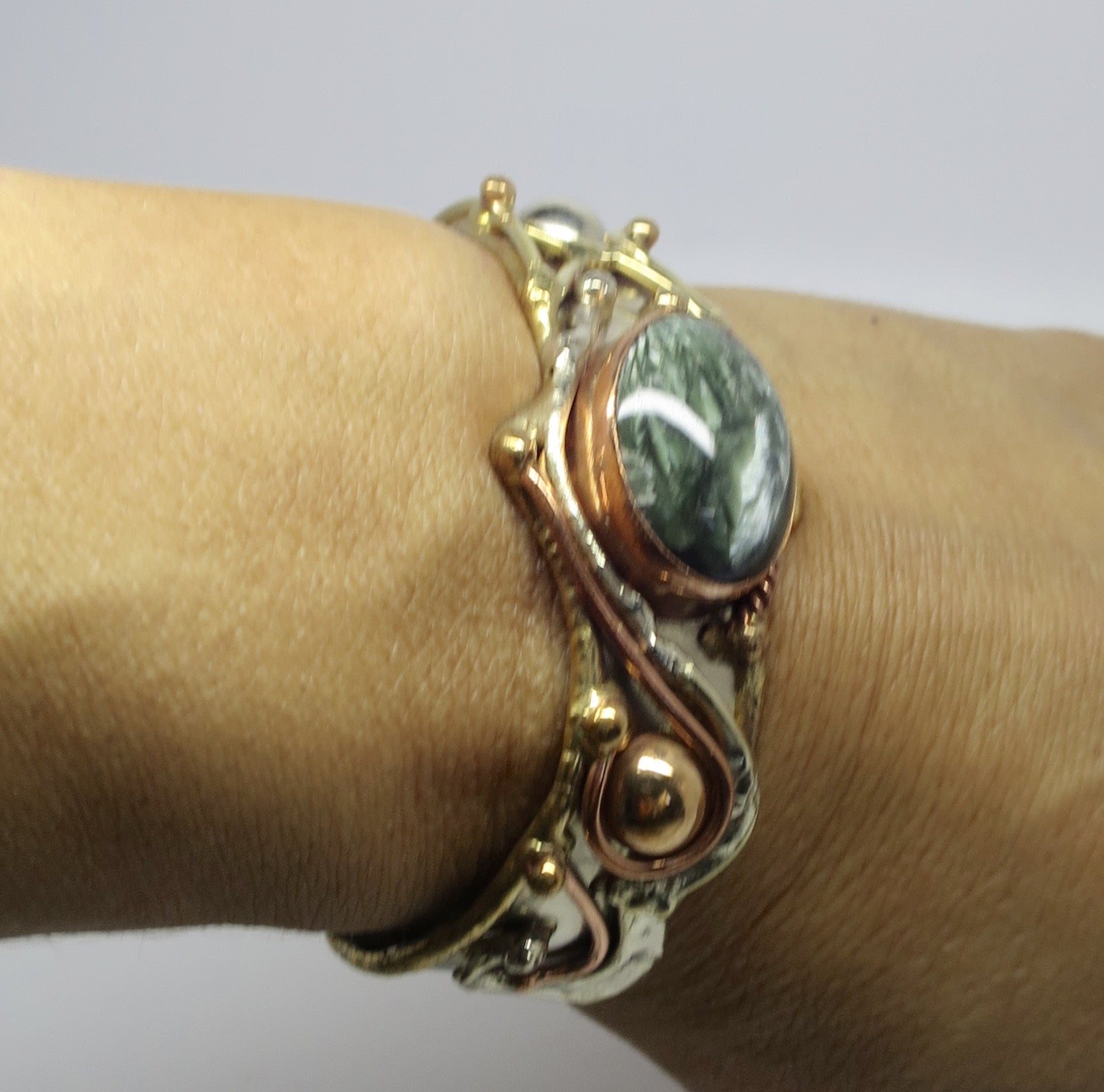 Allura Power Gems- Seraphinite Brass & Copper Cuff Bracelet - Pretty Princess Style  - 2