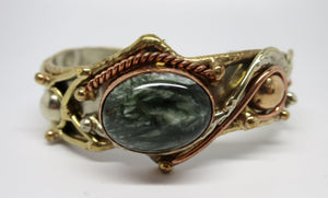 Allura Power Gems- Seraphinite Brass & Copper Cuff Bracelet - Pretty Princess Style  - 1