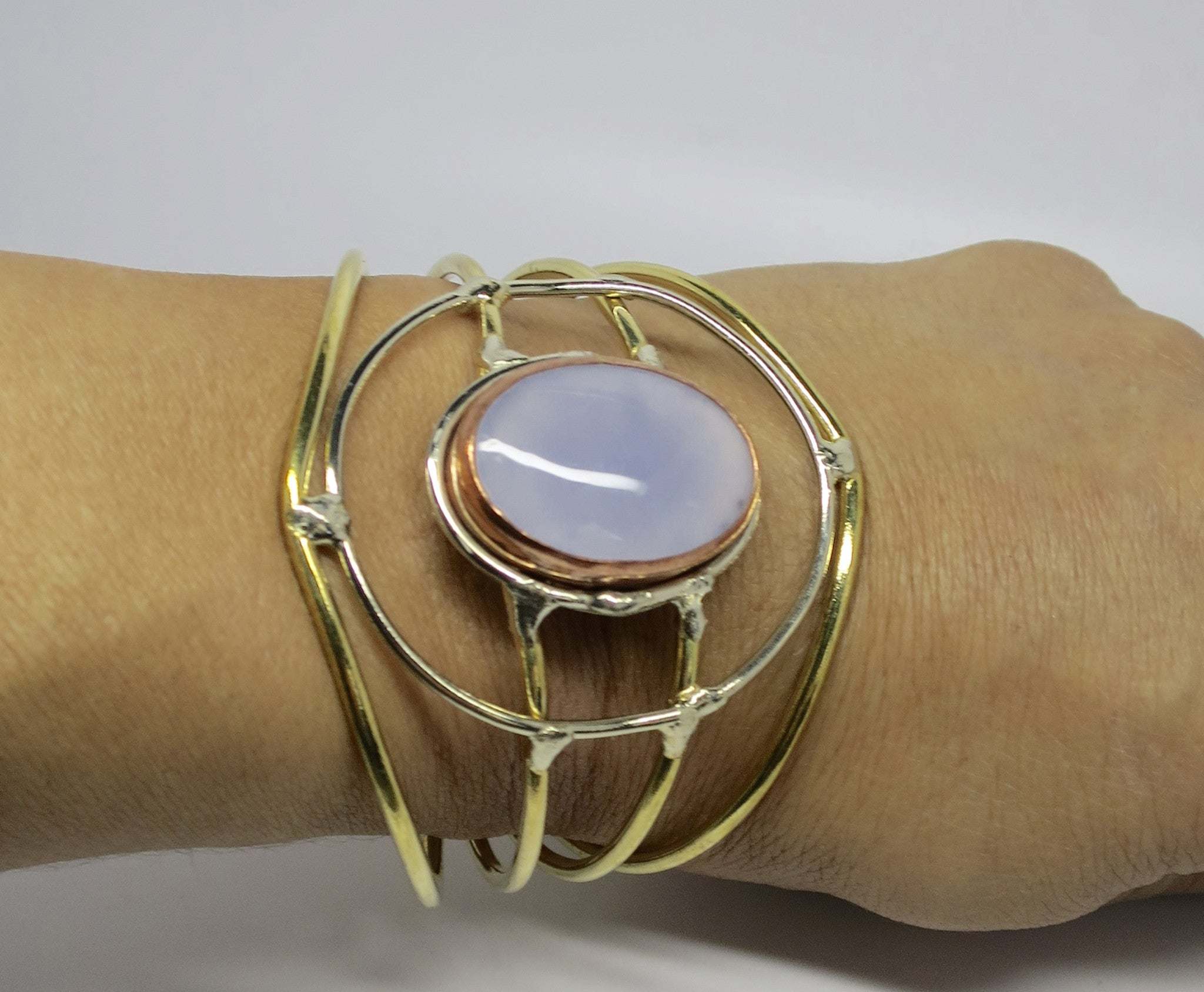 Allura Power Gems- Moonstone Bracelet- Golden Brass Wire Bracelet - Pretty Princess Style  - 2