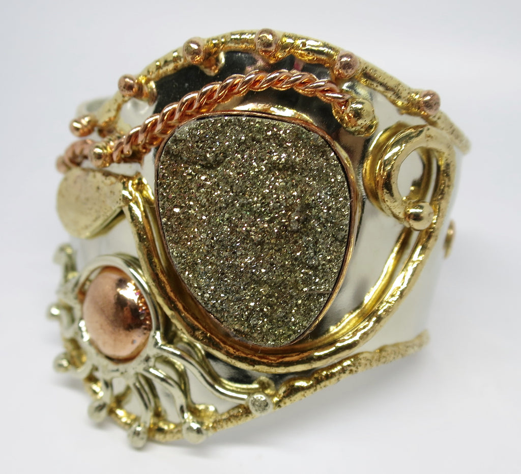 Allura Power Gems- Pyrite Brass & Copper Cuff - Pretty Princess Style