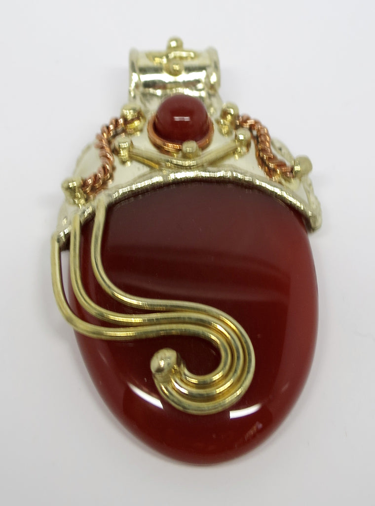 Allura Power Gems- Golden Brass  & Copper Carnelian Power Pendant - Pretty Princess Style
