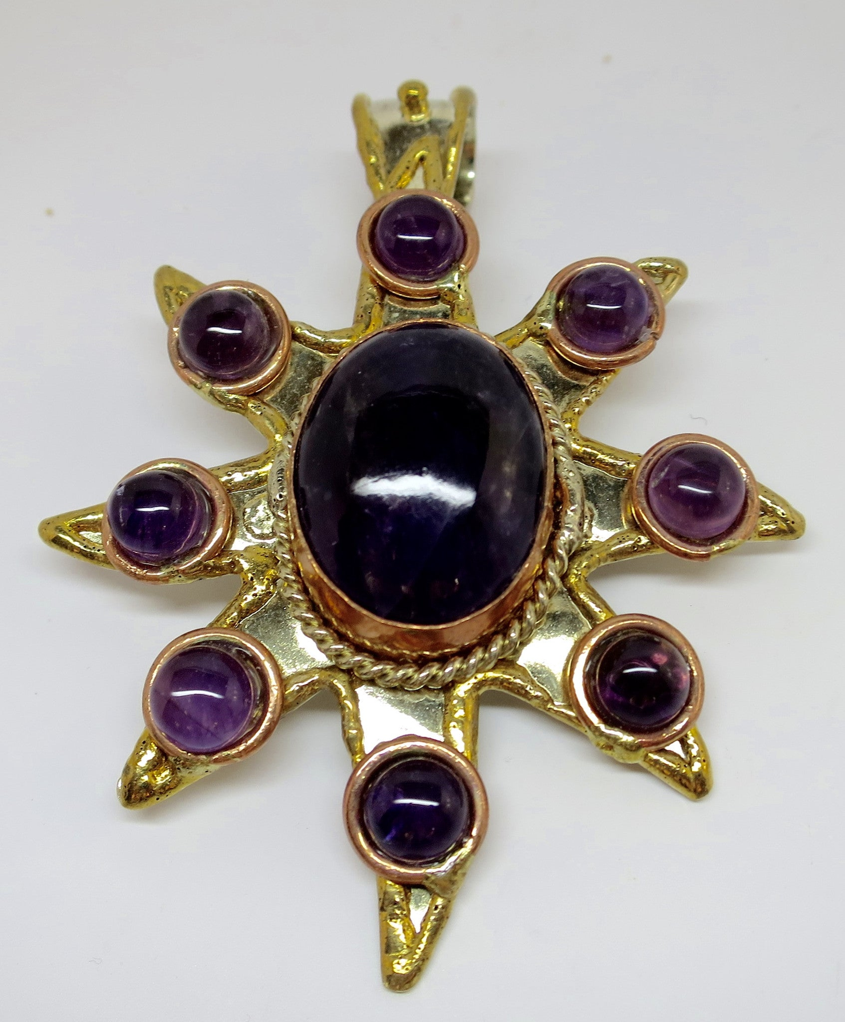 Allura Power Gems-Amethyst Sun Brass & Copper Pendant - Pretty Princess Style  - 1