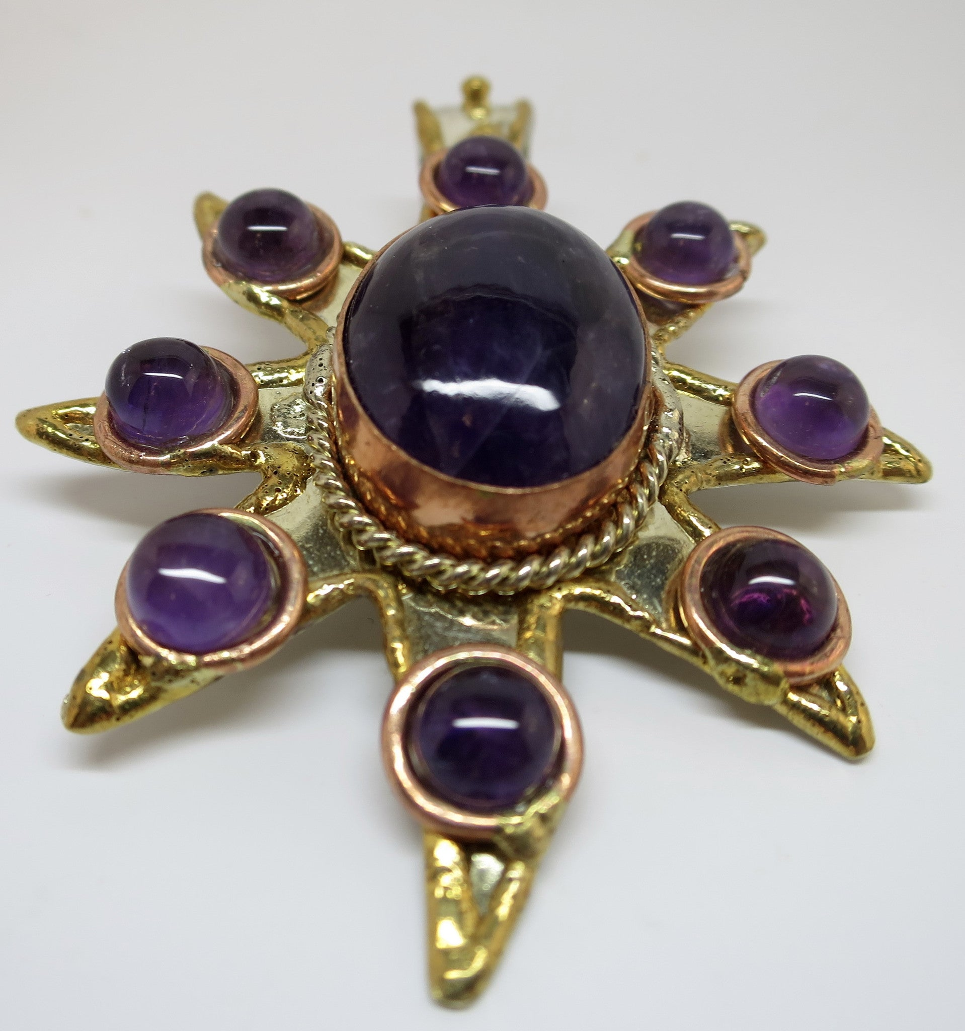 Allura Power Gems-Amethyst Sun Brass & Copper Pendant - Pretty Princess Style  - 2