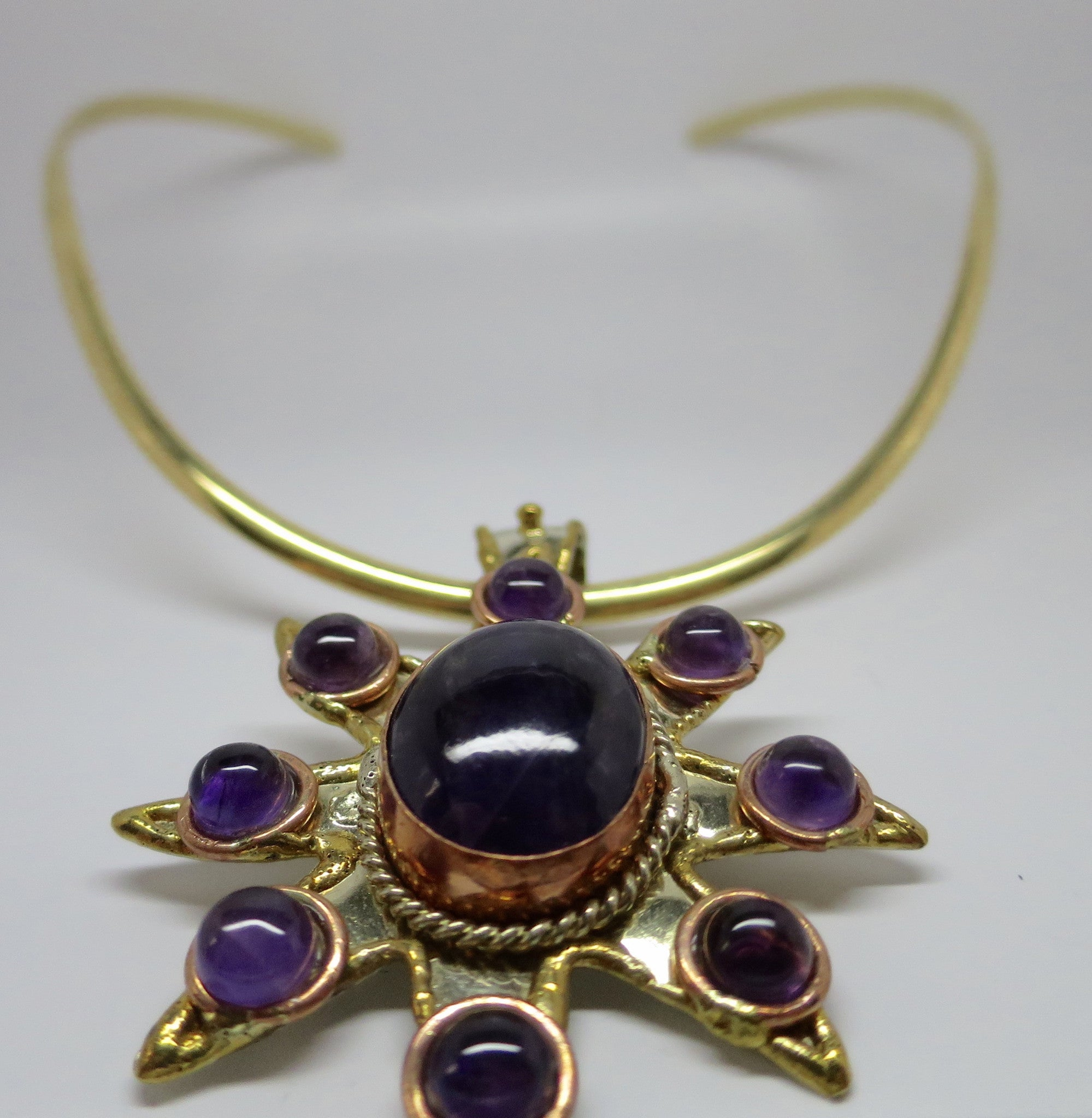 Allura Power Gems-Amethyst Sun Brass & Copper Pendant - Pretty Princess Style  - 3