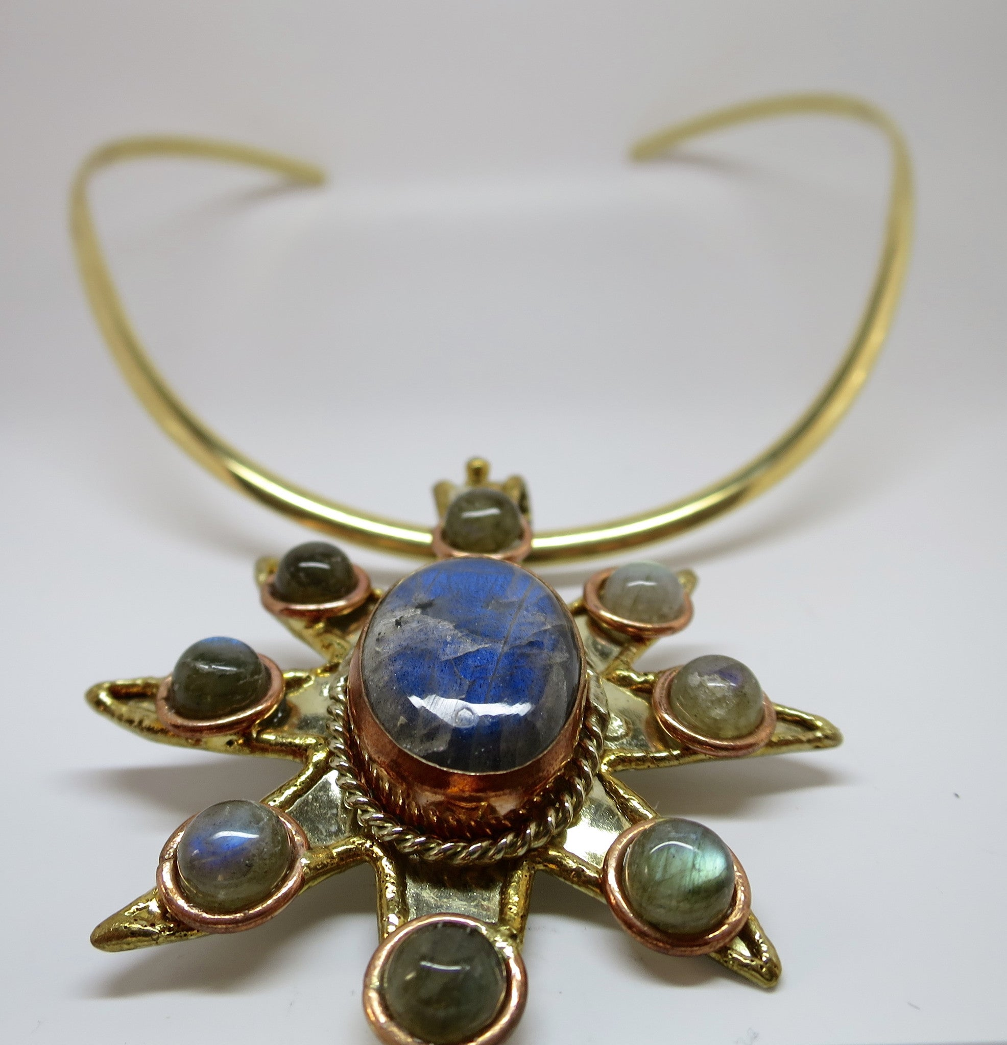 Allura Power Gems- Labradorite Brass & Copper Sun Pendant - Pretty Princess Style  - 2