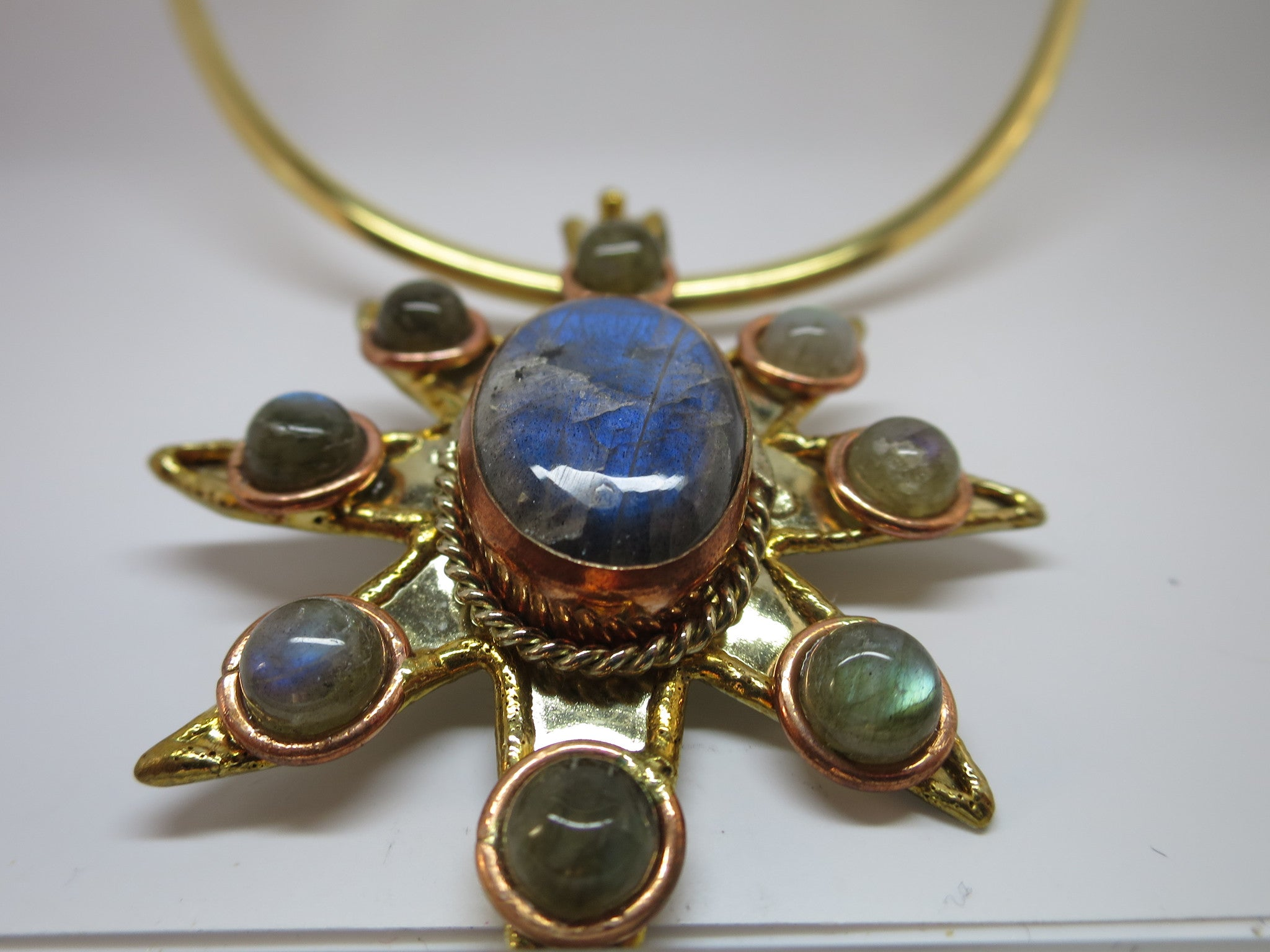 Allura Power Gems- Labradorite Brass & Copper Sun Pendant - Pretty Princess Style  - 3